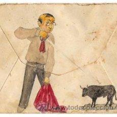 Sellos: SOBRE CIRCULADO PINTADO A MANO CON ESCENA TAURINA. BERANGA. CANTABRIA. CIRCA 1903. Lote 50186478