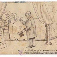 Sellos: SOBRE CIRCULADO DIBUJADO A MANO CON ESCENA HUMORISTICA DE DOCTOR. VALLADOLID, CIRCA 1902. Lote 50456345