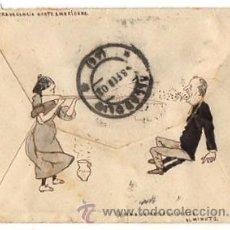 Sellos: SOBRE CIRCULADO DIBUJADO A MANO CON ESCENA HUMORISTICA. VALLADOLID, AÑO 1903. Lote 50456421