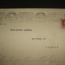 Sellos: SOBRE 1925 SELLO 5 CTS MATASELLOS RODILLO CLARIDAD DIRECCION EN LOS ENVIOS MADRID CORREO CENTRAL. Lote 50494107