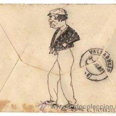 Sellos: SOBRE CIRCULADO DIBUJADO A MANO CON ESCENA DE MENDIGO. VALLADOLID, AÑO 1902. Lote 50495842