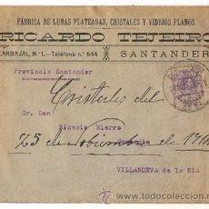 Sellos: SOBRE CIRCULAD FABRICA DE LUNAS PLATEADAS RICARDO TEJEIRO. SANTANDER. AÑO 1914. Lote 50533528