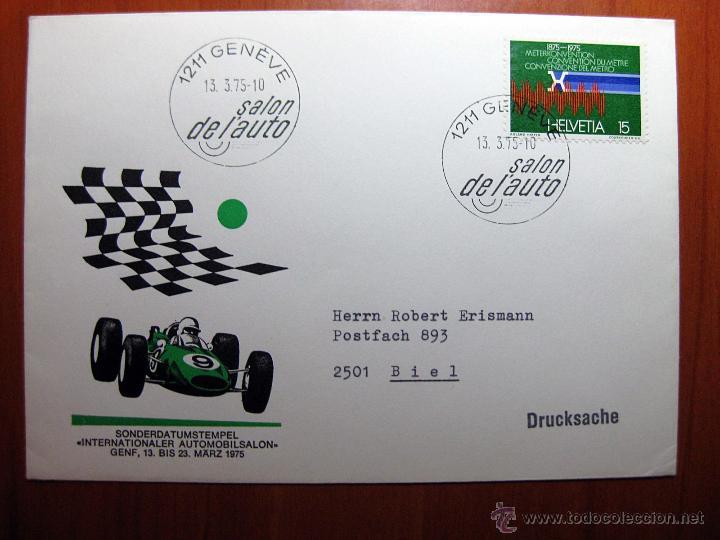 SOBRE ENTERO POSTAL CON MATASELLO SALÓN DE L´AUTOMOBILE DE GENÈVE 2010 (Sellos - Historia Postal - Sello Español - Sobres Circulados)