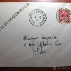 Sellos: SOBRE ENTERO POSTAL CON MATASELLO SALÓN DE L´AUTOMOBILE PARIS 1931. Lote 51007493