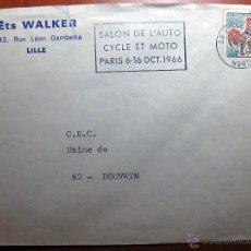 Sellos: SOBRE ENTERO POSTAL CON MATASELLO SALÓN DE L´AUTO CYCLE ET MOTO PARIS 1966. Lote 51007588