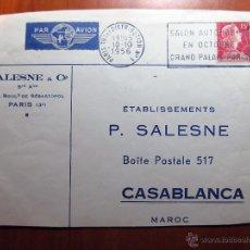 Sellos: SOBRE ENTERO POSTAL CON MATASELLO DEL SALON AUTOMOBILE GRAN PALAIS PARIS 1956. Lote 51007758