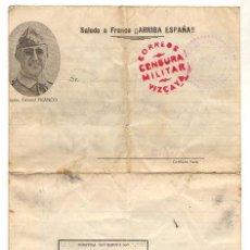 Sellos: SOBRE CENSURA MILITAR VIZCAYA, IMPRESO EN INTERIOR CON IMAGENES DE ZARAGOZA.. Lote 51013926