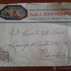 Sellos: 1944. MATASELLOS CORBERA DE ALCIRA. SOBRE CIRCULADO MIELES EL MIGUELETE AYELO DE MALFERIT (VALENCIA). Lote 51487863