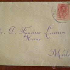 Sellos: ALFONSO XIII. MATASELLOS MALAGA. SOBRE CIRCULADO COLEGIO DE SAN ESTANISLAO MIRAFLORES DE PALO. Lote 51488083