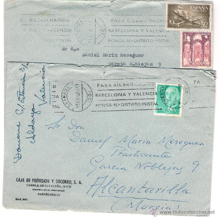 2 SOBRES CIRCULADOS- CAJA DE PREVISIÓN Y SOCORRO. BARCELONA. AÑO 1966 (Sellos - Historia Postal - Sello Español - Sobres Circulados)
