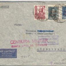 Timbres: CANARIAS TENERIFE CC A ALEMANIA GUERRA CIVIL CENSURA DE SANTA CRUZ SELLOS ISALEL Y FERNANDO AEREOS 1. Lote 52726595