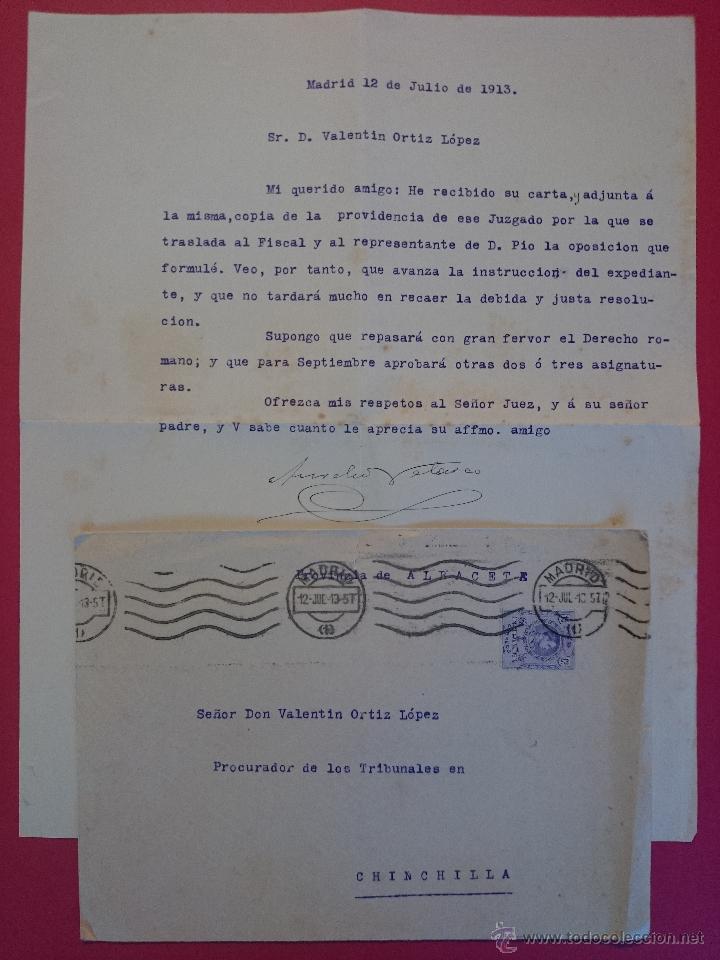 ANTIGUO SOBRE CON CARTA DE MADRID A CHINCHILLA - ALBACETE. AÑO 1913.. R - 555 (Sellos - Historia Postal - Sello Español - Sobres Circulados)