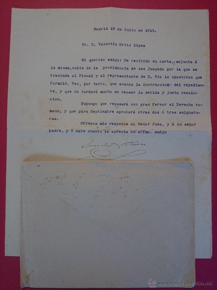 Sellos: ANTIGUO SOBRE CON CARTA DE MADRID A CHINCHILLA - ALBACETE. AÑO 1913.. R - 555 - Foto 2 - 52897675