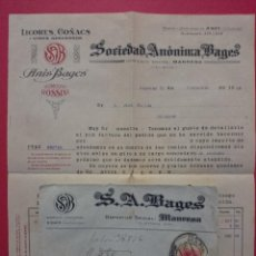 Sellos: SOBRE CIRCULADO 1928 CON FACTURA DE S.A BAGES , MANRESA PARA JOSÉ PALLÁS DE BALAGUER .. R - 564. Lote 52903508