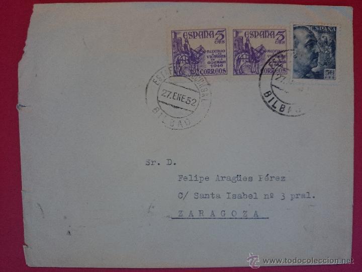 SOBRE CIRCULADO DE BILBAO ( PUBLICACIONES FAUS ) A ZARAGOZA , MATASELLOS AÑO 1952 ..R-566 (Sellos - Historia Postal - Sello Español - Sobres Circulados)