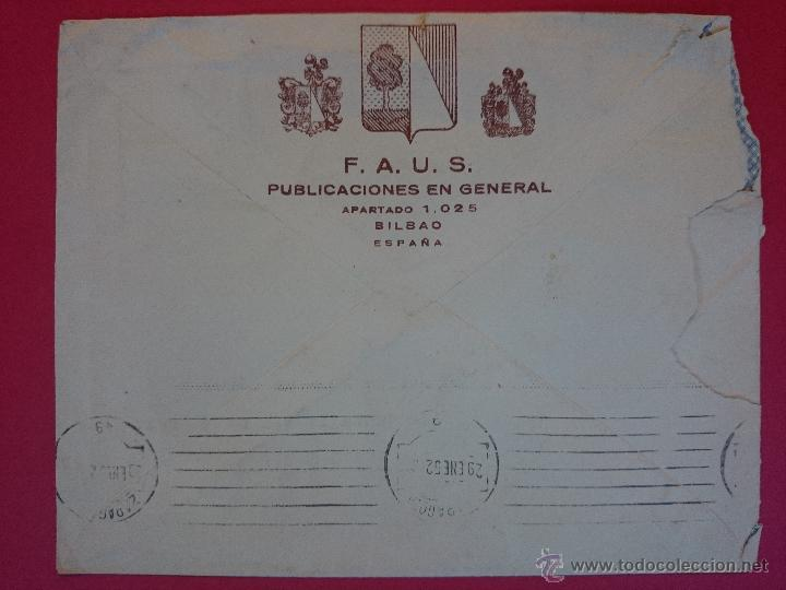 Sellos: SOBRE CIRCULADO DE BILBAO ( PUBLICACIONES FAUS ) A ZARAGOZA , MATASELLOS AÑO 1952 ..R-566 - Foto 2 - 52904984