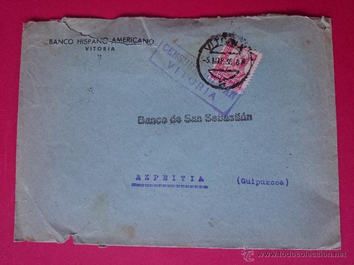 SOBRE CIRCULADO 1938 , BANCO HISPANO AMERICANO VITORIA - MARCA CENSURA MILITAR - EDIFIL 82 ..R- 707 (Sellos - Historia Postal - Sello Español - Sobres Circulados)