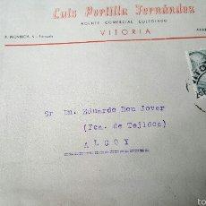 Sellos: .LUIS PORTILLA FERNADEZ, VITORIA, SOBRE CIRCULADO A ALCOY, AGENTE COMERCIAL. Lote 53614682