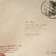 Sellos: LEONCIO MARTIN GIL, AGENTE COMERCIAL, SALAMANCA, SOBRE CIRCULADO, A ALCOY. Lote 53755547