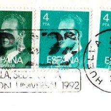 Sellos: SOBRE COMPLETO. MATº RODILLO EXPO'92 SEVILLA, SEDE DE LA EXPOSICIÓN UNIVERSAL 1992. HUELVA. Lote 54495538