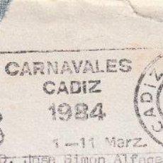 Sellos: SOBRE COMPLETO. MATº RODILLO CARNAVALES DE CADIZ 1984. Lote 54526242