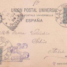 Sellos: 1900 ALFONSO XIII PELON EN BONITA Y RARA TARJETA POSTAL CIRCULADA DE VALENCIA A ITALIA. LLEGADA.. Lote 54706633