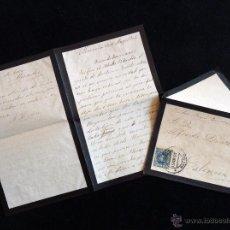 Sellos: SOBRE LUTO CIRCULADO 1902.MATASELLOS CARTAGENA. VALENCIA SELLO ALFONSO XIII CADETE 15 CÉNTIMOS. COMP. Lote 54840333