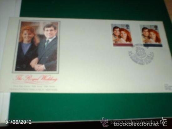 SOBRE THE ROYAL WEDDING. BODA DE SARA FERGUSON Y ANDRÉS. 23 DE JULIO DE 1986 (Sellos - Historia Postal - Sello Español - Sobres Circulados)