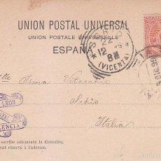 Sellos: 1899 ALFONSO XIII PELON EN BONITA Y RARA TP PLAZA DE TOROS CIRCULADA DE VALENCIA A ITALIA. LLEGADA. Lote 55349424