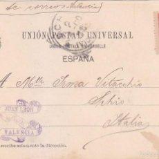 Sellos: 1900 ALFONSO XIII PELON EN BONITA Y RARA TARJETA POSTAL ALAMEDA CIRCULADA VALENCIA A ITALIA. LLEGADA. Lote 55364558