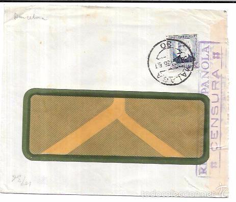 SOBRE CON CENSURA MILITAR DE LA REPUBLICA. MALAGA. (Sellos - Historia Postal - Sello Español - Sobres Circulados)