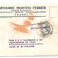 Sellos: CENSURA MILITAR TERUEL. 1937. Lote 55821035
