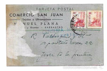 CENSURA MILITAR BARBASTRO. (Sellos - Historia Postal - Sello Español - Sobres Circulados)