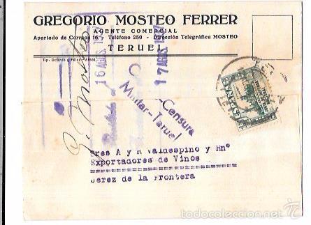 CENSURA MILITAR TERUEL. 1937. (Sellos - Historia Postal - Sello Español - Sobres Circulados)