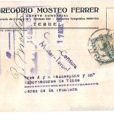 Sellos: CENSURA MILITAR TERUEL. 1937.. Lote 55821565