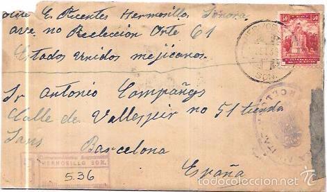 SOBRE CON CARTA CON CENSURA MILITAR DE LA REPUBLICA. DE MEXICO A BARCELONA. (Sellos - Historia Postal - Sello Español - Sobres Circulados)