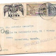 Francobolli: SOBRE CON CARTA CON CENSURA MILITAR DE LA REPUBLICA. DE MEXICO A BARCELONA.. Lote 56350556
