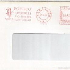 Sellos: ZARAGOZA FRONTAL FRANQUEO MECANICO PORTICO LIBRERIAS BOOK. Lote 56473516