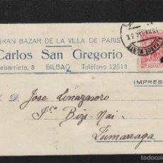 Sellos: TARJETA COMERCIAL -CARLOS SAN GREGORIO , GRAN BAZAR BILBAO ( VIZCAYA ) AÑO 1944. MAT ALCANCE NORTE . Lote 56484547