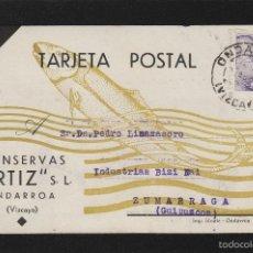 Sellos: TARJETA COMERCIAL - CONSERVAS ORTIZ - ONDARROA ( VIZCAYA ) AÑO 1945 . DEST ZUMÁRRAGA ( GUIPUZCOA ). Lote 56719646
