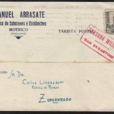 Sellos: TARJETA COMERCIAL -MANUEL ARRASATE ESCABECHES MOTRICO (GUIPUZCOA) 1938 CENSURA MILITAR SAN SEBASTIAN. Lote 56910348