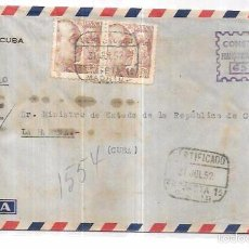 Sellos: SOBRE DE CONSULADO DE CUBA EN MADRID A MINISTRO DE ESTADO DE CUBA.. Lote 57336889