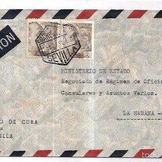 Sellos: SOBRE DE CONSULADO DE CUBA EN SEVILLA A MINISTRO DE ESTADO DE CUBA.. Lote 57336977