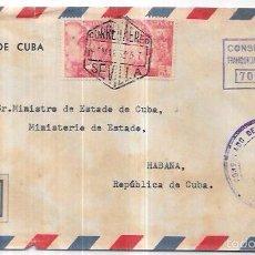 Sellos: SOBRE DE CONSULADO DE CUBA EN SEVILLA. A MINISTRO DE ESTADO DE CUBA.. Lote 57337068