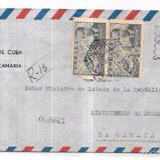 Sellos: SOBRE DE CONSULADO DE CUBA EN LAS PALMAS DE GRAN CANARIA. MINISTERIO DE ESTADO EN CUBA.. Lote 57337131