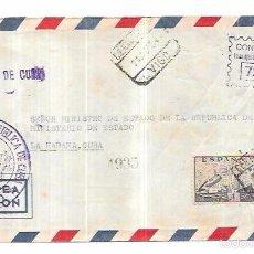 Sellos: SOBRE DE CONSULADO DE CUBA EN VIGO. MINISTRO DE ESTADO DE LA REPUBLICA DE CUBA.. Lote 57337163