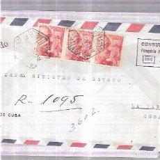 Sellos: SOBRE DE CONSULADODE CUBA EN MALAGA. A MINISTERIO DE ESTADO EN CUBA.. Lote 57337281