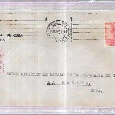 Sellos: SOBRE DE CONSULADO DE CUBA EN BARCELONA. AL MINISTERIO DE LA REPUBLICA DE CUBA.. Lote 57337298