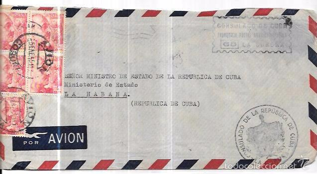 SOBRE DE CONSULADO DE CUBA DE LA CORUÑA. A MINISTRO DE ESTADO DE LA REPUBLICA DE CUBA. (Sellos - Historia Postal - Sello Español - Sobres Circulados)