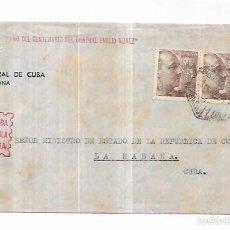 Sellos: SOBRE DE CONSULADO DE CUBA EN BARCELONA. A MINISTRO DE ESTADO DE LA REPUBLICA DE CUBA.. Lote 57337360